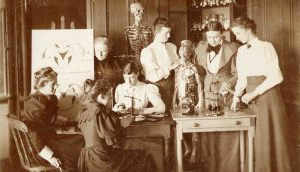 Black and white image of women in lab